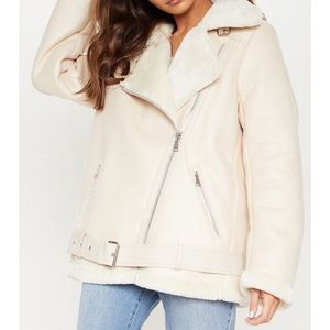 PLT winter coat aviator jacket size 8 NWT faux fur